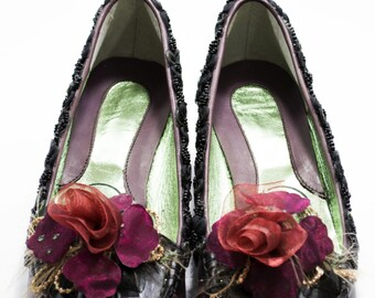 Loafers for women, women's shoes, loafers with flowers, plum/black loafers, loafers applications, loafers handmade, exclusive loafers