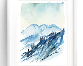 Mountains Watercolor Landscape - Watercolor Archival Print, Watercolor Lake, Watercolor Home Decor