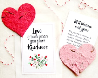 12 Plantable Red Hearts - Flower Seed Paper Hearts Pink - Spread Kindness Wedding Favors Thank You Cards - Positive Message Gift Card