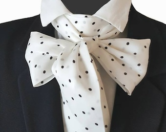 Black White Spots Polka Dots Silky Cravat Neck Jabot Scarf Victorian Steampunk Theatre Wedding Races Ascot Self Tie Multi Way PK80