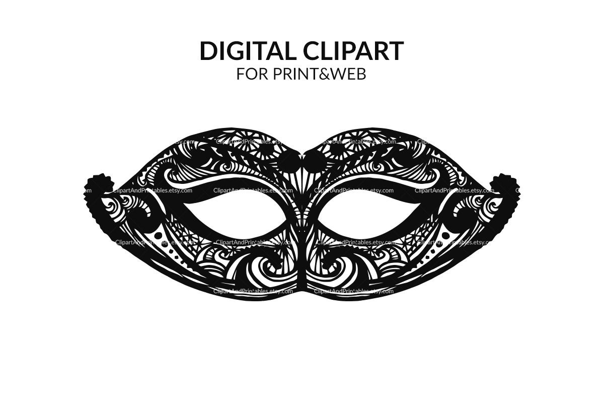 Carnival mask digital clip art printable masquerade mask zoom pronofoot35fo Gallery