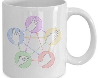 Rock paper scissors lizard spock coffee mug (white) 11oz the big bang theory coffee mug - the big bang theory gift merchandise cup