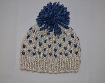 Child's Grey and Blue Knitted Beanie | Fair Isle with Pom Pom