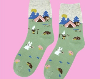FREE SHIPPING Animals go camping women's sock