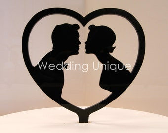 Wedding Cake topper, bride and groom cake topper, silhouette cake topper, hearts topper
