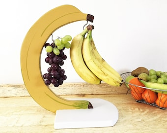 Banana hanger, hook, rack, grape holder, kitchen accessories, banana stand handmade from recycled wood, kitchen decor