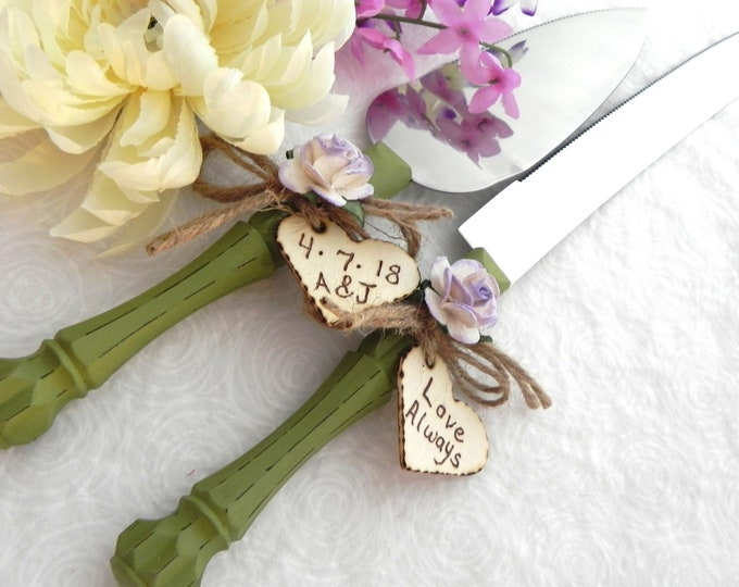 Rustic Chic Wedding Cake Server And Knife Set, Olive Green and Lilac, Personalized Wood Hearts, Bridal Shower Gift, Wedding Gift