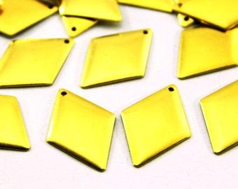 30 pcs 16x24 mm Raw Brass Diamond Charms