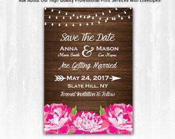 Peony Save The Date Magnet or Card DIY PRINTABLE Pink Peony Wedding Save The Date Magnet with Peonies Watercolor Peony Wedding Save The Date