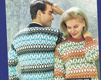 Original Vintage P & B  Knitting Pattern 9037 - Norwegian Traditional Sweater to fit Chest Sizes 34-42 inches.
