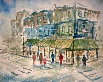 Original Watercolor Landscape Painting, cityscape, watercolor painting, watercolor art, landscape painting, city painting, city street art.