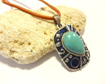 Southwestern Pendant Necklace, Turquoise Necklace, Statement Necklace, Orange and Blue Suede Necklace, Turquoise Jewelry, Southwest Jewelry