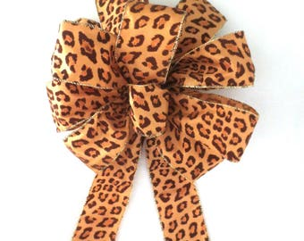 Leopard Bow, Christmas Bow / Tree Topper Bow