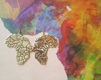 Africa map earrings, African earrings, Africa earrings, Map earrings, African jewelry, Goldtone earrings, African map, Africa jewelry, Map