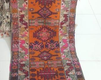 Rug, Vintage Rug, Area rug,Rugs, Anatolian Rug, Turkish Rug, Kurdish Rug, Oushak Rug, Handwoven Rug, Nomadic Rug, Decoration Rug (220X77 CM)