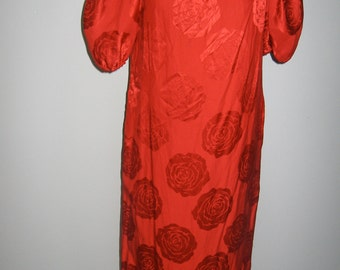 Vintage fire engine red silk dress by Albert Nipon