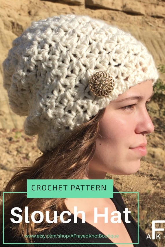 be69af6918a ... Pattern  Easy Slouch Hat Crochet  Slouchy. Sold by AFrayedKnotBoutique.  This is a digital file