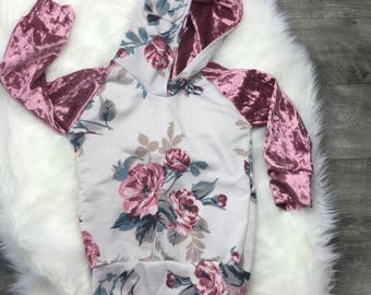 Crush velvet floral hoodie and matching pants / toddler and baby girl clothes
