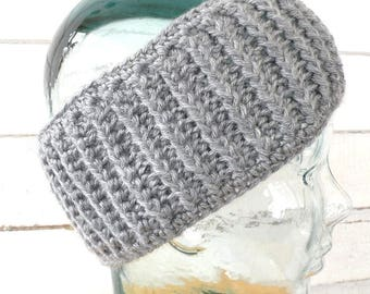 Silver Gray Ribbed Stretchy Unisex Headband Earwarmer