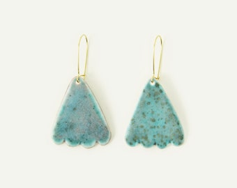 Porcelain Scallop Statement Earrings / Triangle in Turquoise