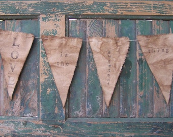 Canvas Bunting, Rustic Wedding Decor, Farmhouse Decor, Stamped Canvas Banner Wall Hanging, Mother's Day Gift • Love is the sweetest thing
