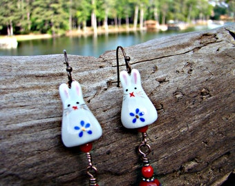 White Spring Bunnies with Red Striped Eggs Earrings