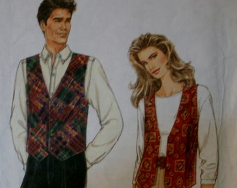 Simplicity 9285 Misses, Mens, Teens Vest Sewing Pattern New/Uncut Size XS-XL