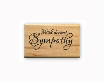 With Deepest Sympathy - Mounted rubber stamp, fancy script, Sweet Grass Stamps #23