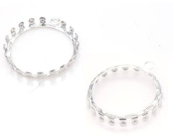 x 1 support prong round setting 20 mm silver ring.