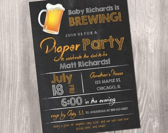 Diaper Party Invitation Beers BBQ Diapers Invitation Daddy