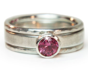 Recycled sterling silver stacking ring set. Ethical fair trade pink spinel,  Hand made, Size UK J 1/2