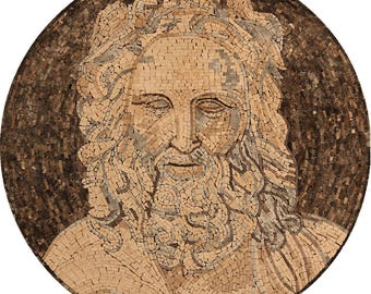 "Round ORIENTAL God Portrait Wall ART 35"" Art Marble Mosaic FG1077"