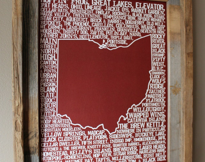 Beers of Ohio Word Map (Red) - Unframed