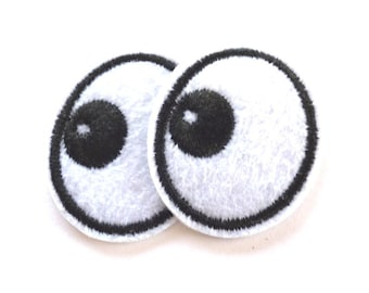 Two Small Eye Patches, Eyes with Black Pupils Iron on Patch, Eye Iron on Patch