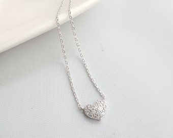 24K White Gold Dipped Paved Heart Necklace, Heart Charm Necklace, Dainty Necklace, Cubic Necklace,Heart Pendant Necklace,Minimalist Necklace