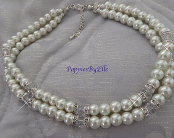 Pearl and Crystal Choker, Diamante Crystal and Pearls, Pearl Necklace, Double Row of pearls