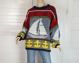 80s Sailboat Pullover- 1980s Vintage Men's Chenille Sweater- Primary Colors- Nautical- Large- Dad Sweater- Blue, Red, Yellow