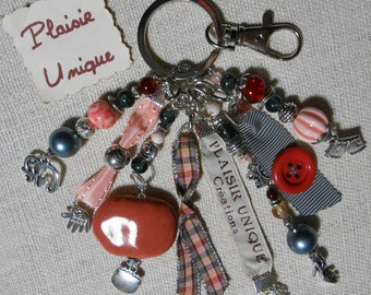 Keychain jewelry bag gray coral ribbons and beads