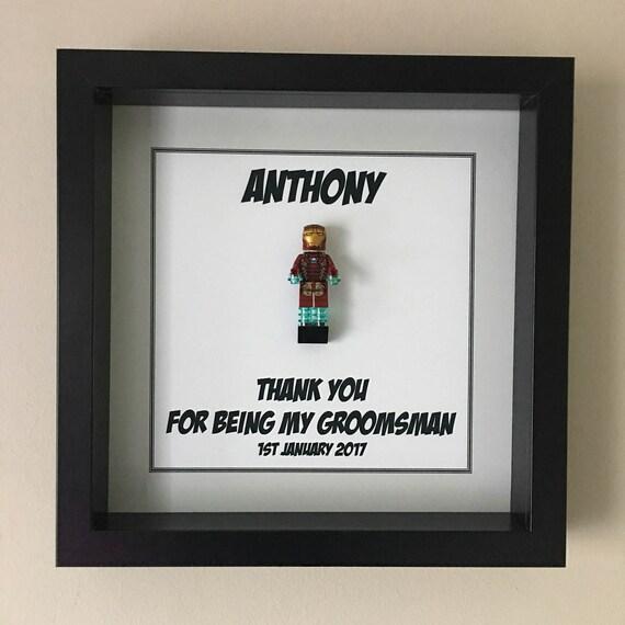 Groomsman Minifigure Frame, Mum, Gift, Geek, Box Frame, Framed, Idea, Wedding, For Him, Superhero, Hero, Pageboy, Frames