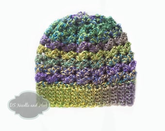 Crochet Winter Hat Pattern, Lacy Crochet Beanie Pattern, Crochet Beanie with Pompom, Double V Crochet Hat Pattern, Instant Download