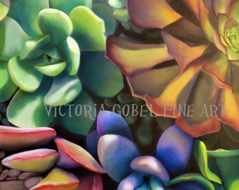 Succulent I Original Art by Victoria Gobel - Giclee Gallery Wrapped on Boxed Canvas - 36 x 48""