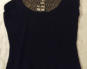 Super glam black and gold knit top