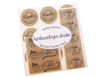 Artist Series sticker variety pack - HERHAZELEYES - Thanks for Supporting Small Business- You are Awesome -Best Mail Ever