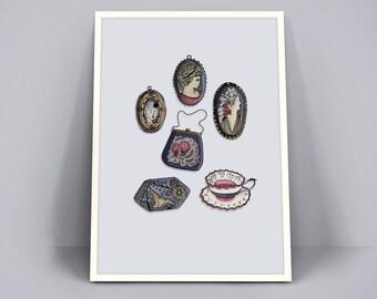 Retro Vintage Poster A4 Art Print - Antieke broches, tasje en een kopje thee -