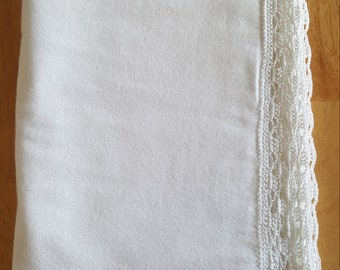 Baby Blessing / Christening / Baby Baptism Flannel Blanket with Crocheted Edge