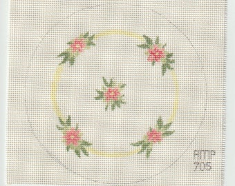 Pink Flowers in a Circular Pattern Hand Painted on 18 ct Needlepoint Mono Canvas - The Workshop AMP 705 Circle Design Pink Flowers
