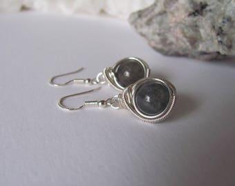 Labradorite wire wrapped earrings