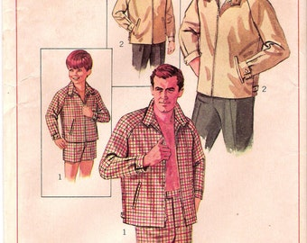 CLOSE OUT/ Simplicity 7744 UNCUT 1960s Mens Club Jacket Vintage Sewing Pattern Swim Trunks Chest 34-36
