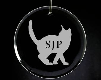 Cat Monogram Christmas Ornament Glass Engraved, Personalized, Sandblasted Kitten Xmas, Etched Pet Gift, Christmas Gift