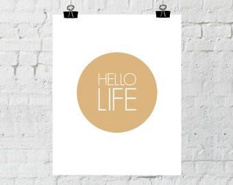 Hello Life. 8x10 Orange, Typographic, Home Decor Print. Instant Digital Download. Printable Wall Art - ADOPTION FUNDRAISER